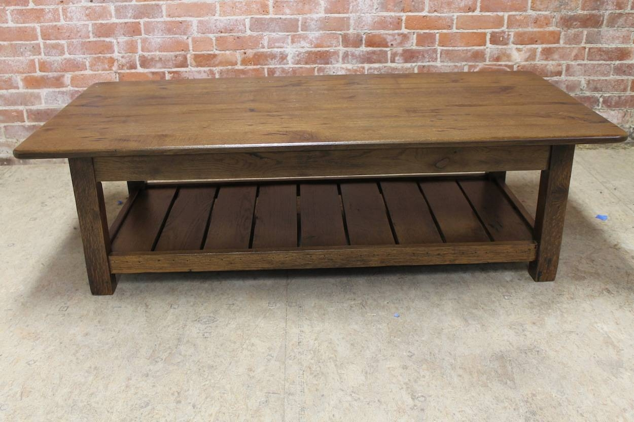 Reclaimed Wood Coffee Table With Shelf – Lake And Mountain Home With Regard To Reclaimed Oak Coffee Tables (View 4 of 15)
