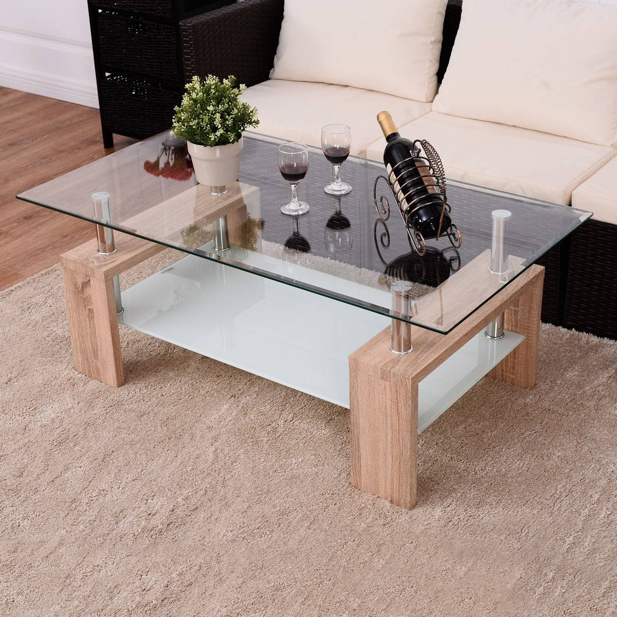 Rectangular Tempered Glass Coffee Table W/ Shelf - Coffee Tables for Glass Coffee Table With Shelf (Image 14 of 15)