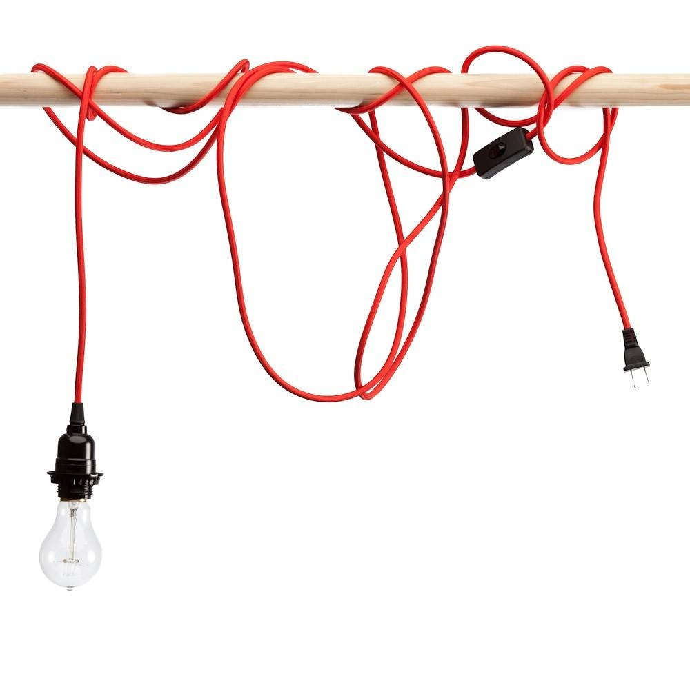 Red Nylon Braided Cloth Covered Light Cord inside Corded Pendant Lights (Image 11 of 15)