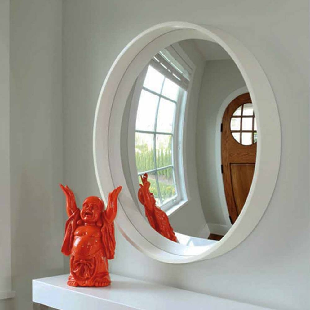 Reflecting Design Pazzo 38 Bone White Decorative Convex Mirror E3 intended for Convex Decorative Mirrors (Image 9 of 15)