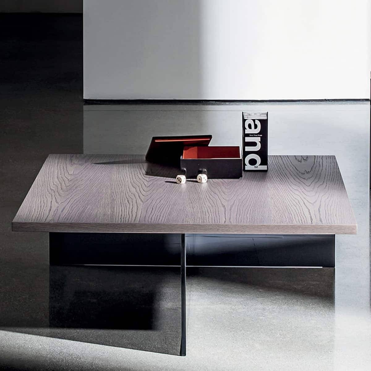 Regolo Square Glass And Wood Coffee Table - Klarity - Glass Furniture in Glass and Wood Coffee Tables (Image 14 of 15)