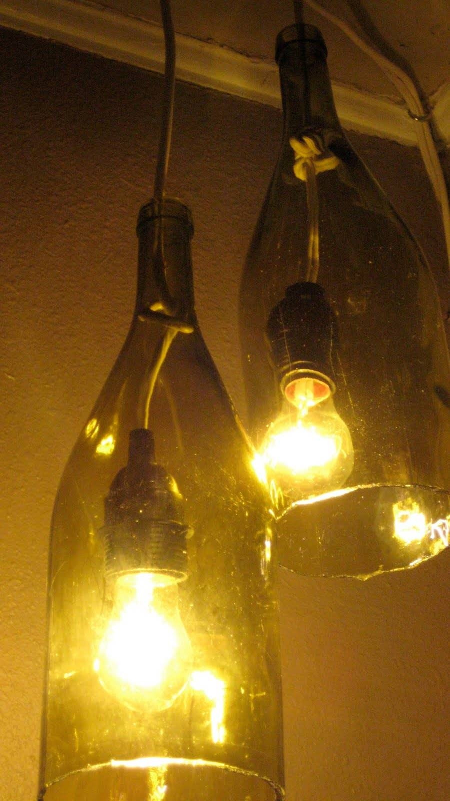 Remodelaholic | 14 Great Diy Pendant Lights And Link Party with regard to Wine Bottle Pendants (Image 9 of 15)