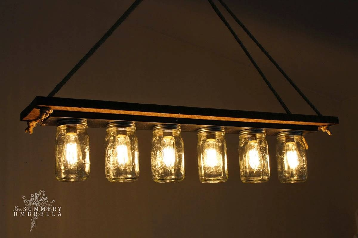 Remodelaholic | Upcycle A Vanity Light Strip To A Hanging Pendant throughout Blue Mason Jar Lights Fixtures (Image 14 of 15)