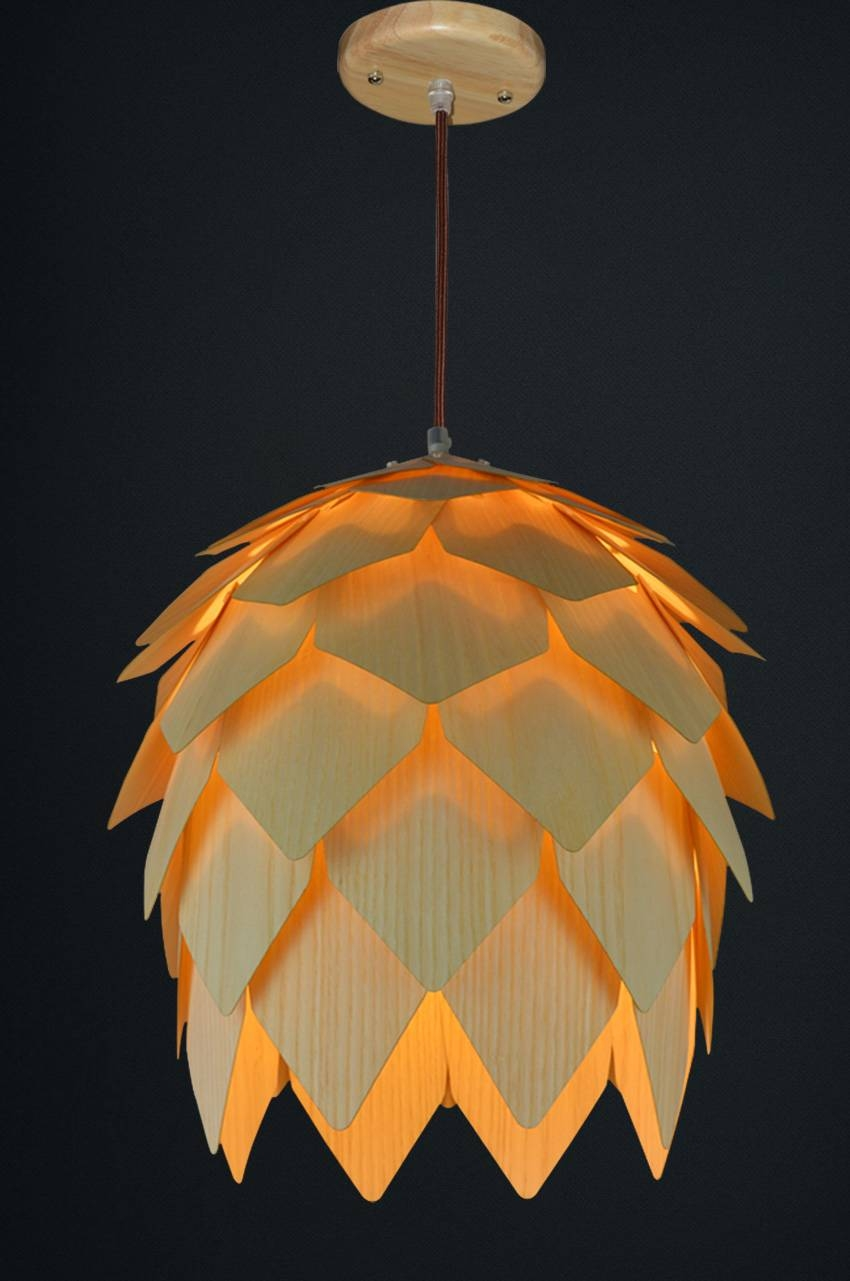Restaurant Lighting Made Of Wood Veneer intended for Wood Veneer Pendant Lights (Image 11 of 15)