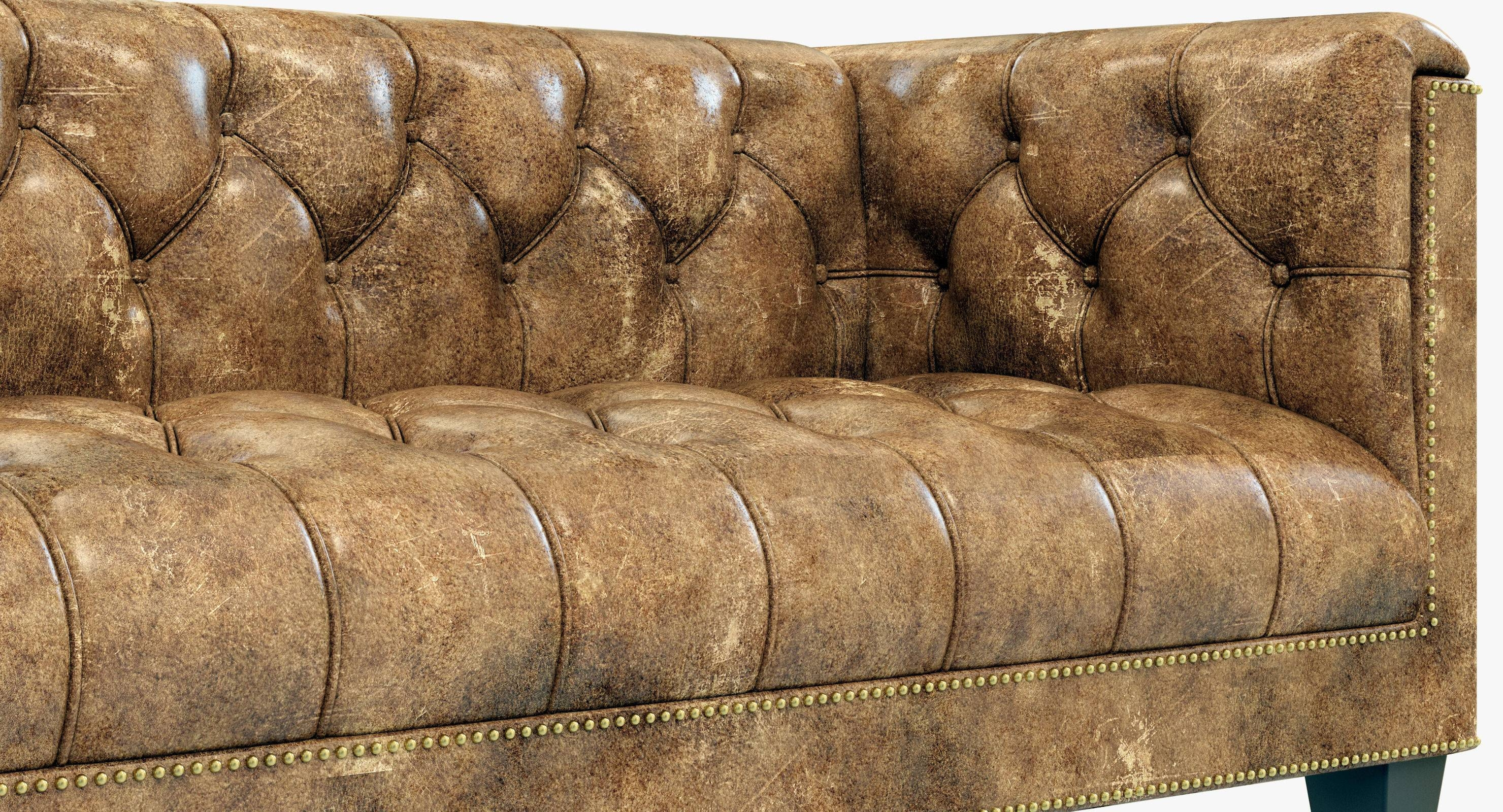 Restoration Hardware Savoy Leather Sofa 3D Model In Savoy Leather Sofas  (Image 6 Of 15
