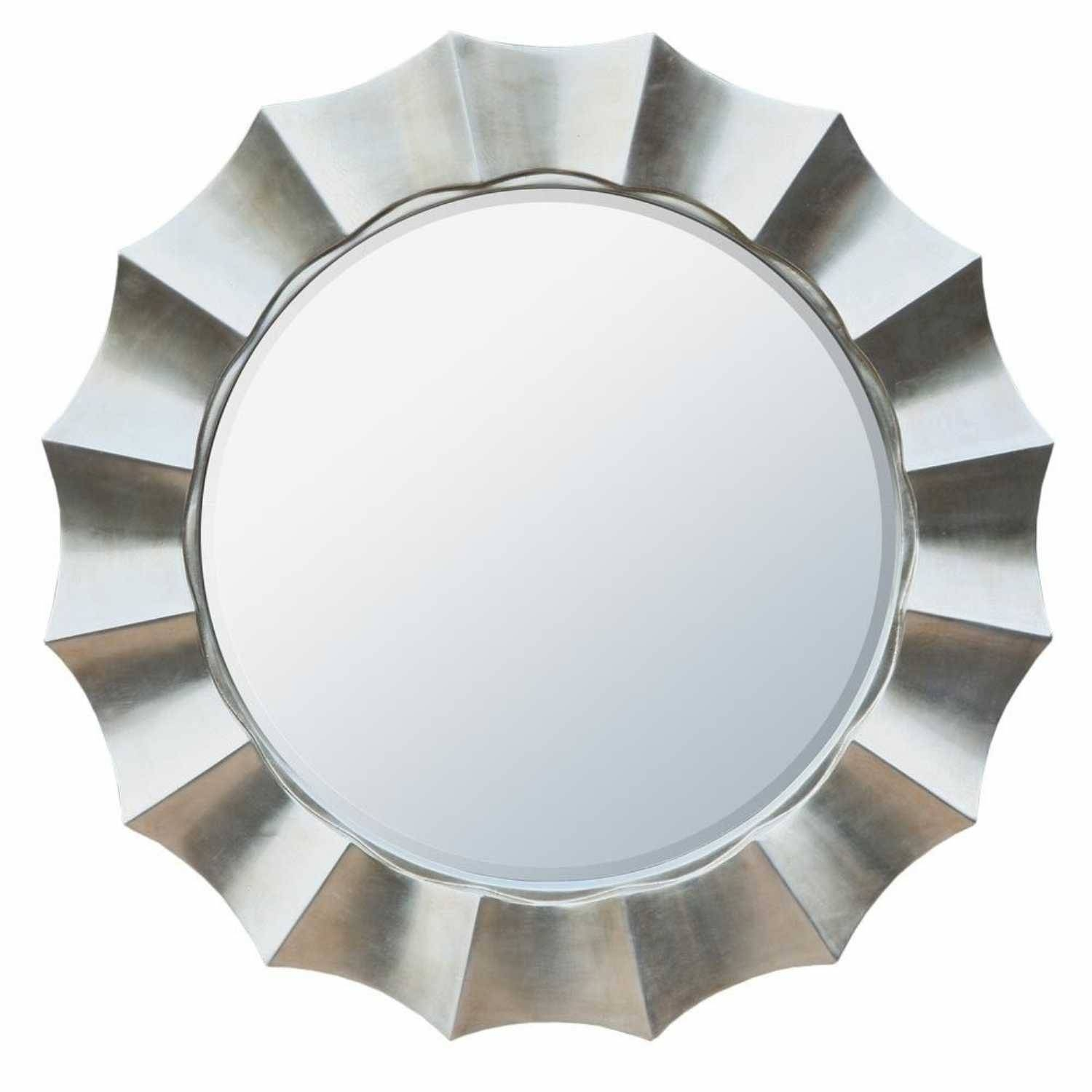 Retro Funky Large Decorative Round Silver Sunburst Wall Mirror regarding Funky Wall Mirrors (Image 12 of 15)