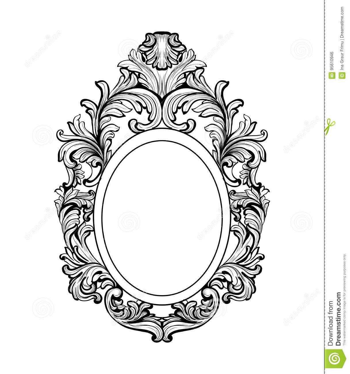 Rich Baroque Mirror Frame. Vector French Luxury Rich Intricate with Black Victorian Style Mirrors (Image 9 of 15)