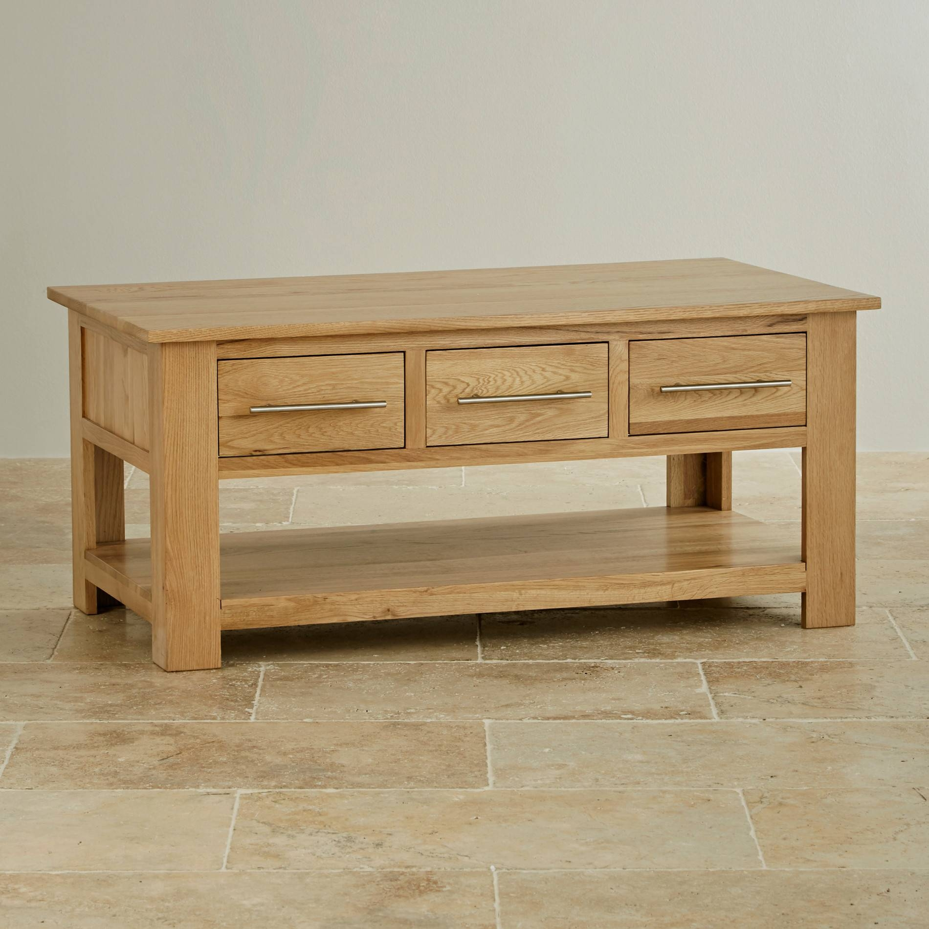 Rivermead 6 Drawer Coffee Table In Natural Solid Oak pertaining to Solid Oak Coffee Table With Storage (Image 13 of 15)