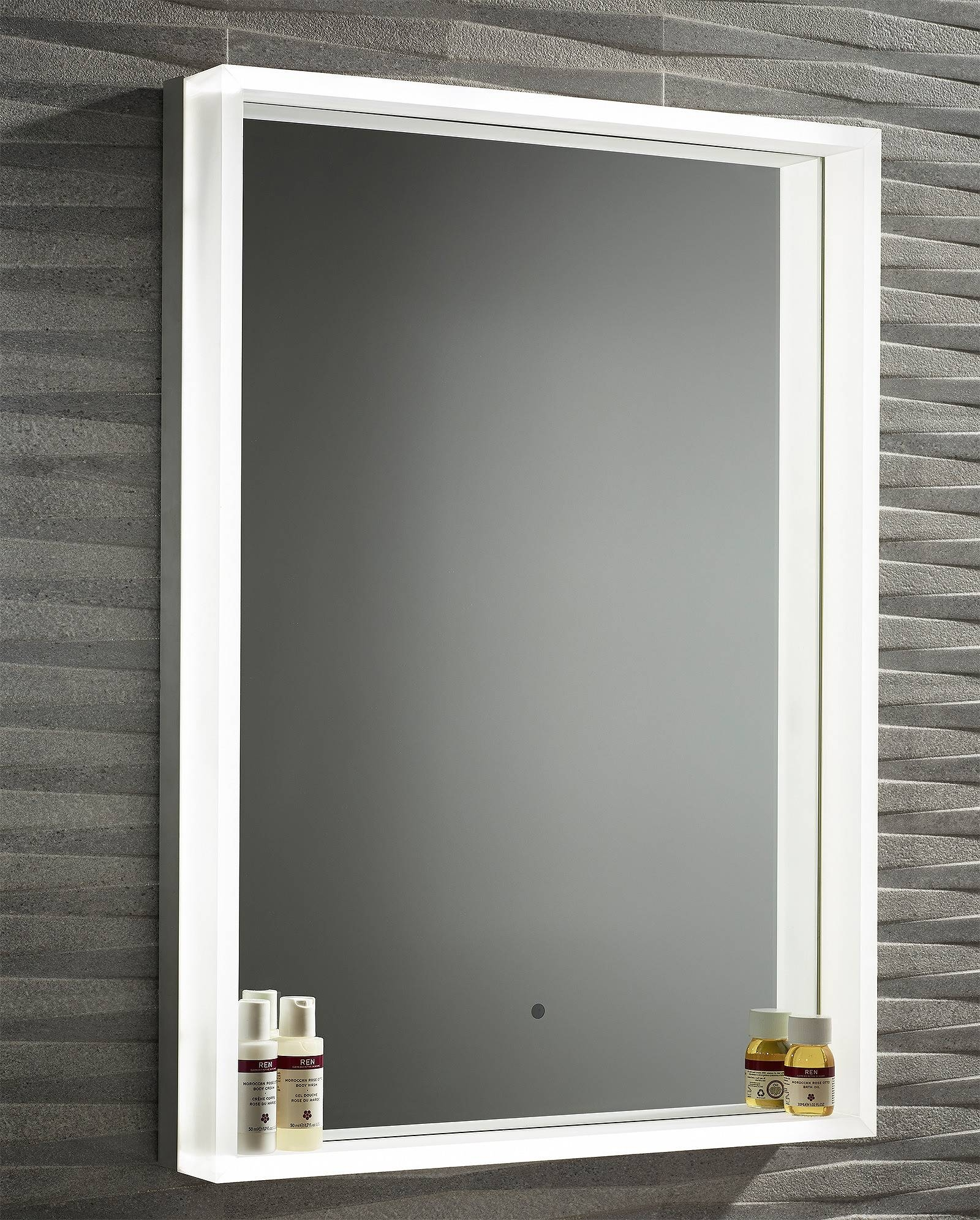 Roper Rhodes Aura Illuminated Framed Mirror 500 X 700Mm Chrome Inside Chrome Framed Mirrors (View 10 of 15)