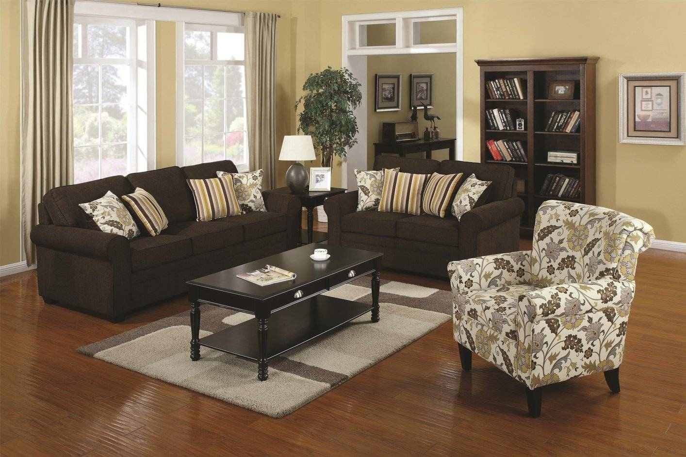 Rosalie Brown Fabric Loveseat - Steal-A-Sofa Furniture Outlet Los regarding Brown Sofa Chairs (Image 15 of 15)