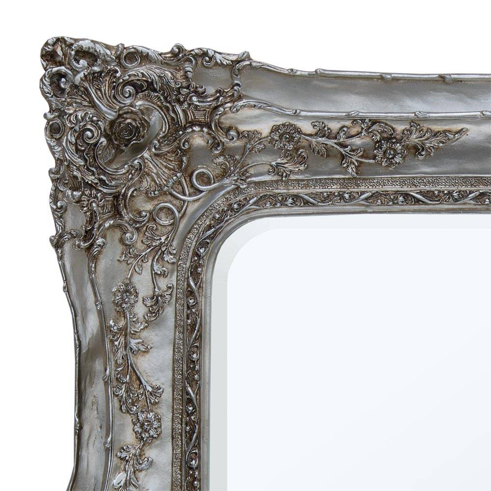 Rosetti Baroque Double Frame Antique Silver Large Wall Floor intended for Silver Baroque Mirrors (Image 12 of 15)
