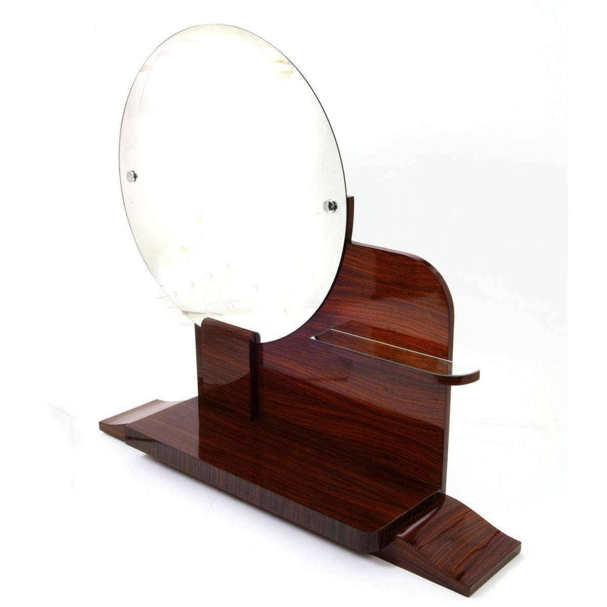 Round Art Deco Mirror With Shelves For Sale At Pamono throughout Round Art Deco Mirrors (Image 12 of 15)