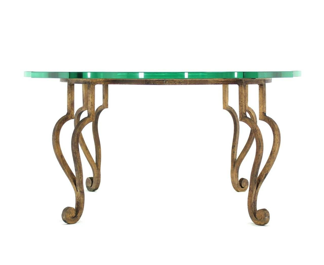 Round Figural Wrought Iron Base Coffee Table With Thick Glass Top within Thick Glass Coffee Table (Image 13 of 15)