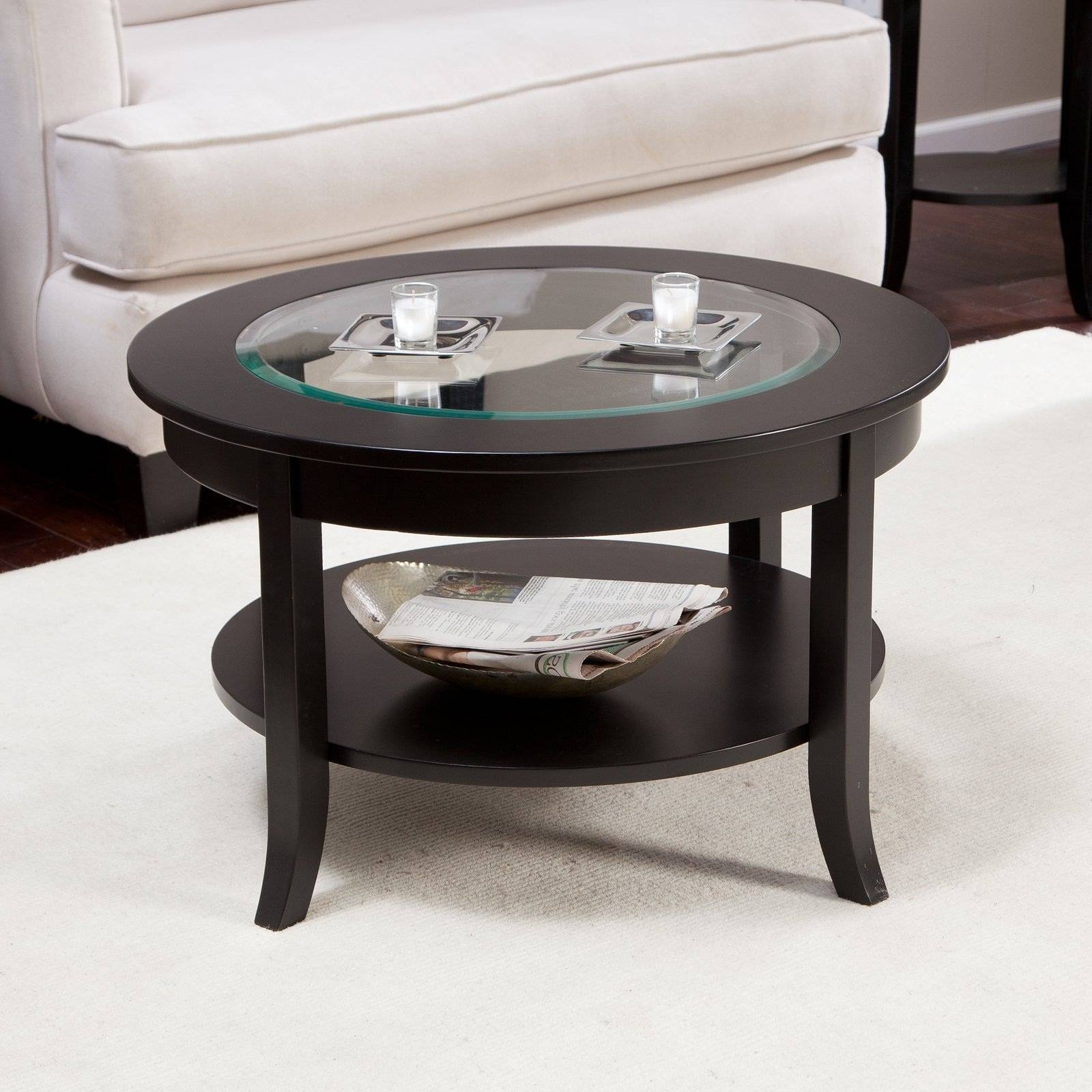Round Glass Coffee Table. Simple Elegance Wood Base Tables With intended for Round Wood And Glass Coffee Tables (Image 12 of 15)