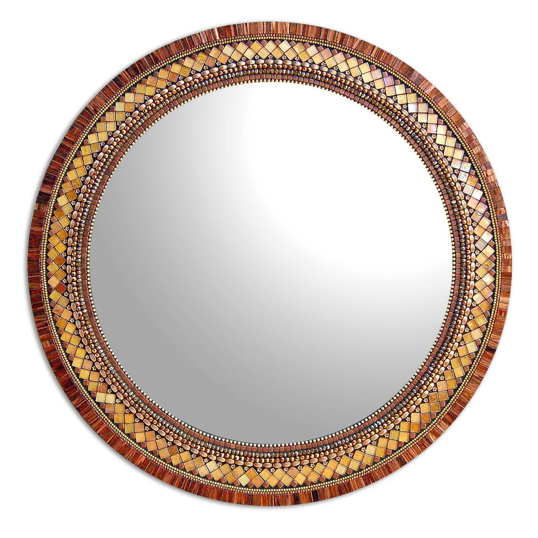 Round Golden Bronzeangie Heinrich (Mosaic Mirror) | Artful Home pertaining to Bronze Mosaic Mirrors (Image 14 of 15)