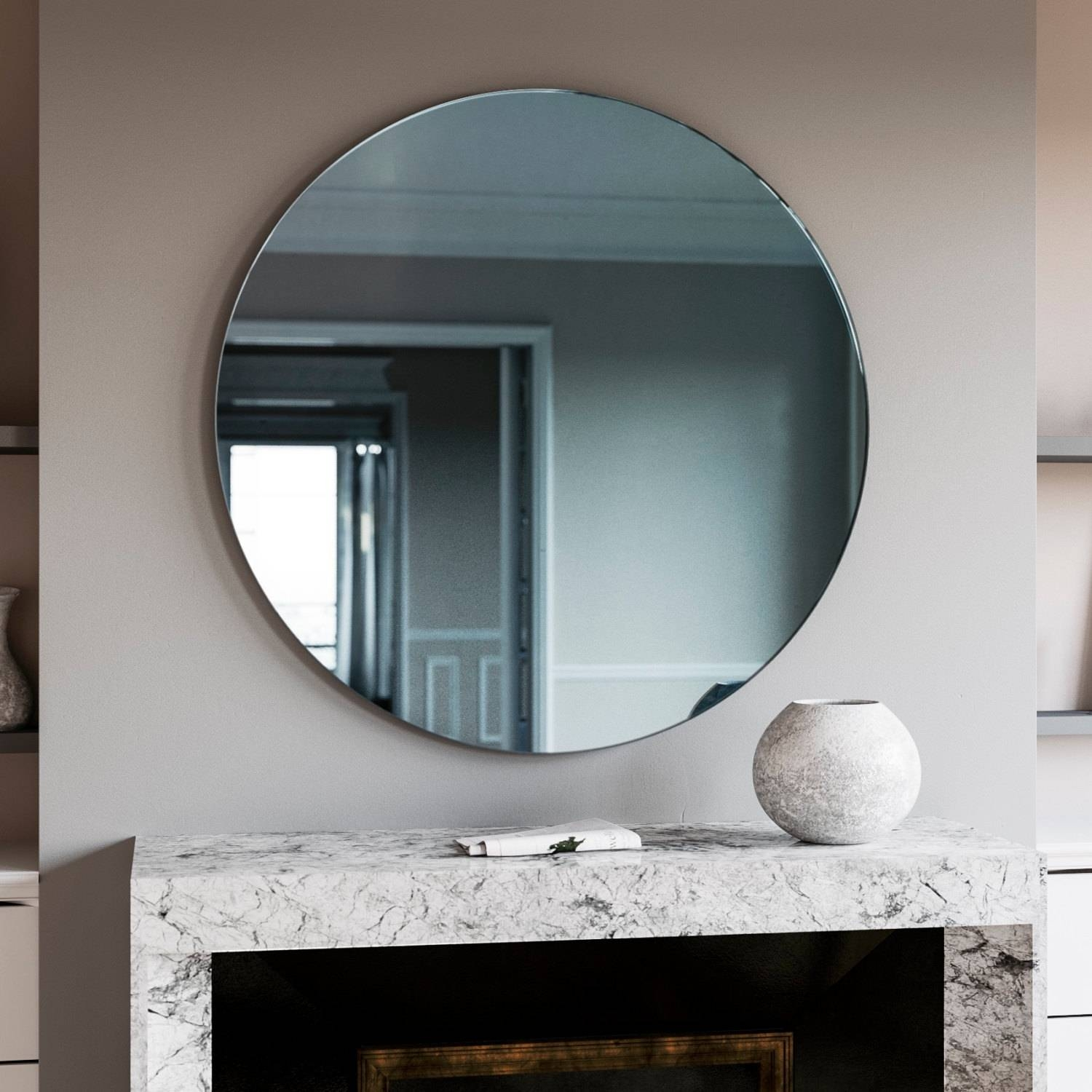Round Mirror. Blue Round Art Deco Wall Mirror Made With in Round Art Deco Mirrors (Image 13 of 15)