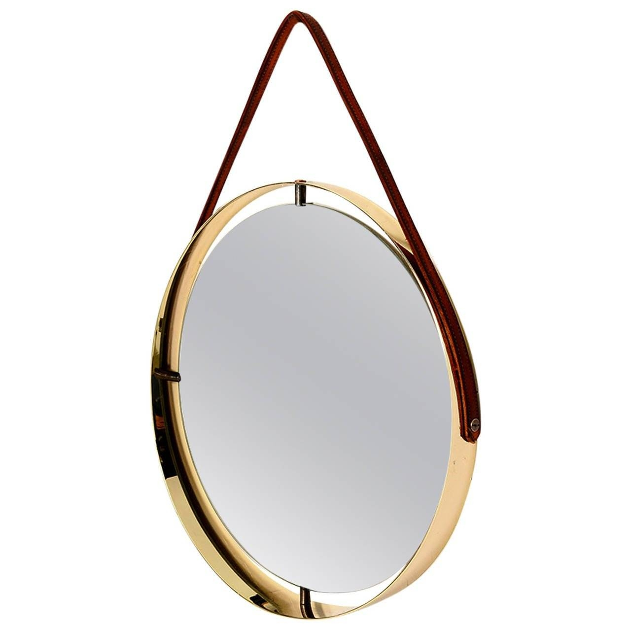 Round Mirror With Leather Strap For Sale At 1Stdibs With Regard To Large Leather Mirrors (View 15 of 15)