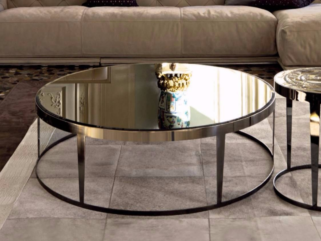Round Mirrored Glass Coffee Table Amadeus | Mirrored Glass Coffee Regarding Mirror Glass Coffee Table (View 11 of 15)