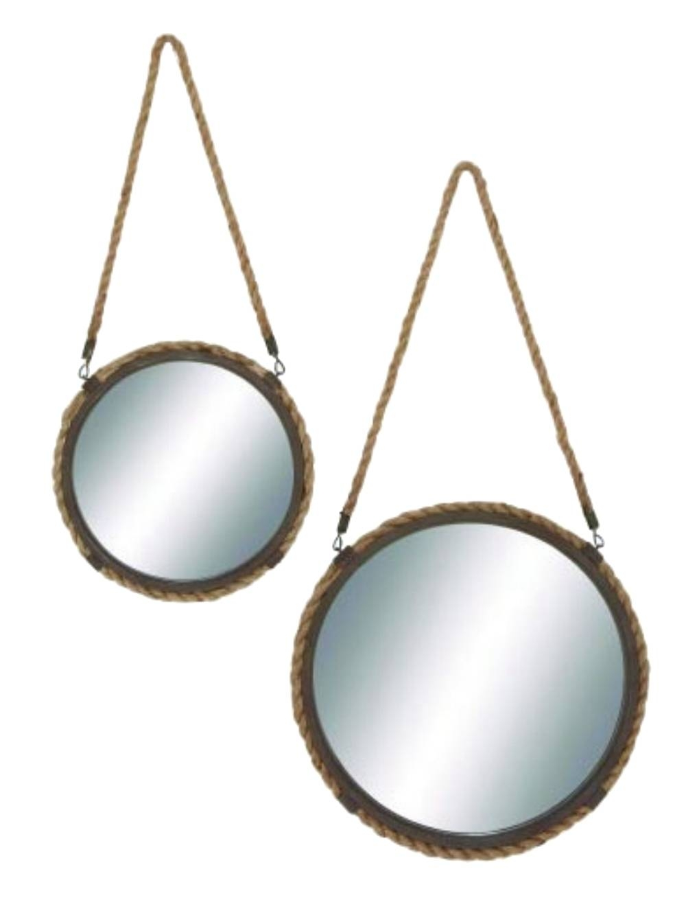 Round Mirrors Aged Steel With Rope Hemp Edge Sold As Pair Old with Old-Style Mirrors (Image 11 of 15)