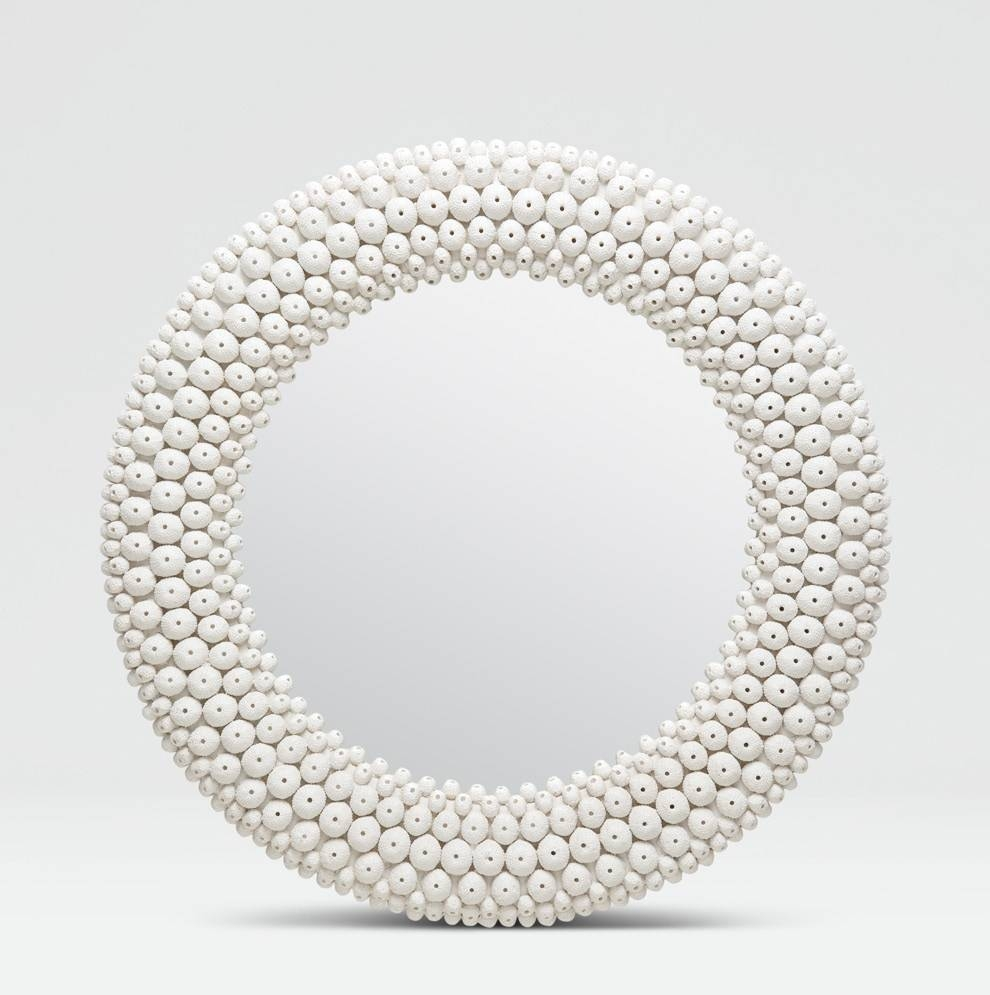 Round White Sea Urchin Mirror - Mecox Gardens intended for White Round Mirrors (Image 12 of 15)