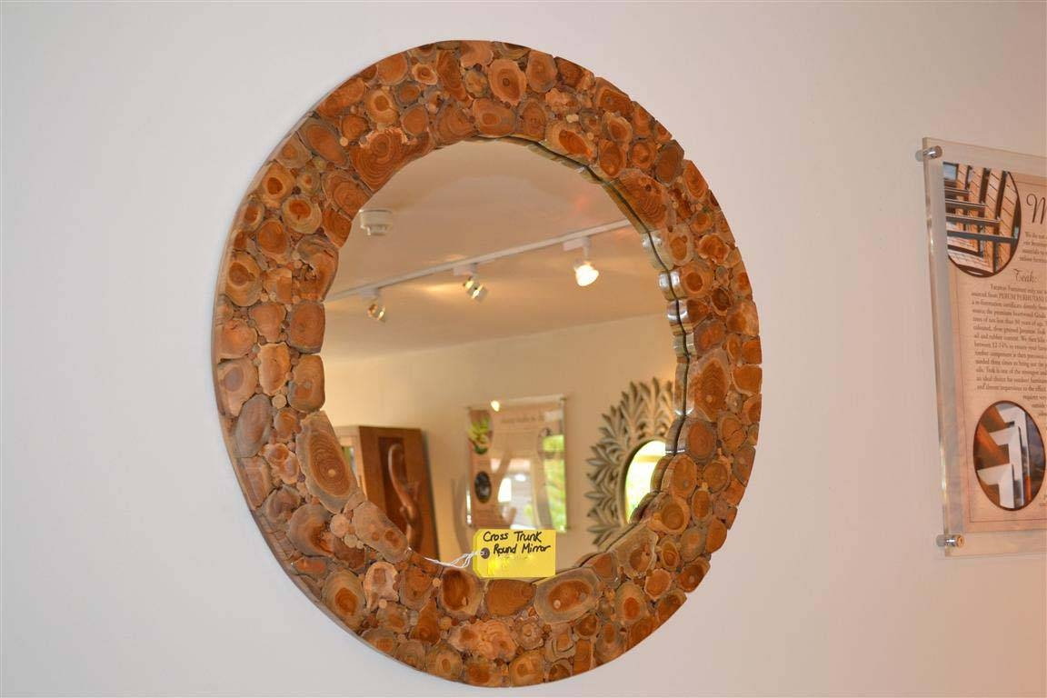 Round Wooden Mirror – Bross Trunk Branch Mirror Throughout Large Round Wooden Mirrors (View 11 of 15)
