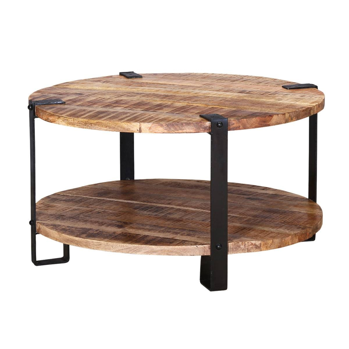 "Roxborough 35"" Rustic Industrial Round Coffee Table With Saw Marks throughout Industrial Round Coffee Tables (Image 15 of 15)"
