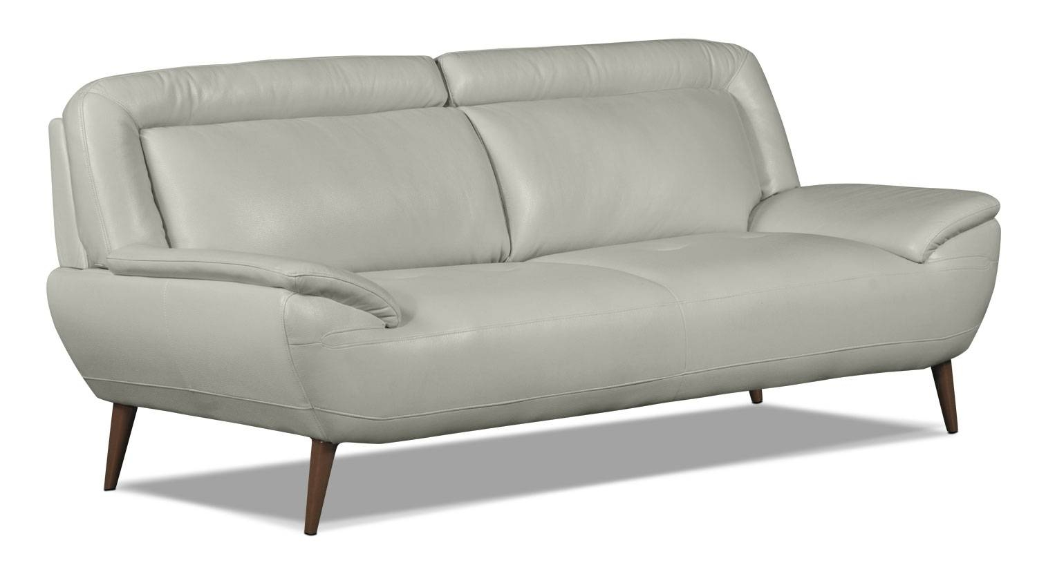 Roxy Leather Look Fabric Studio Size Sofa – Beige | The Brick Inside Cindy Crawford Leather Sofas (View 11 of 15)
