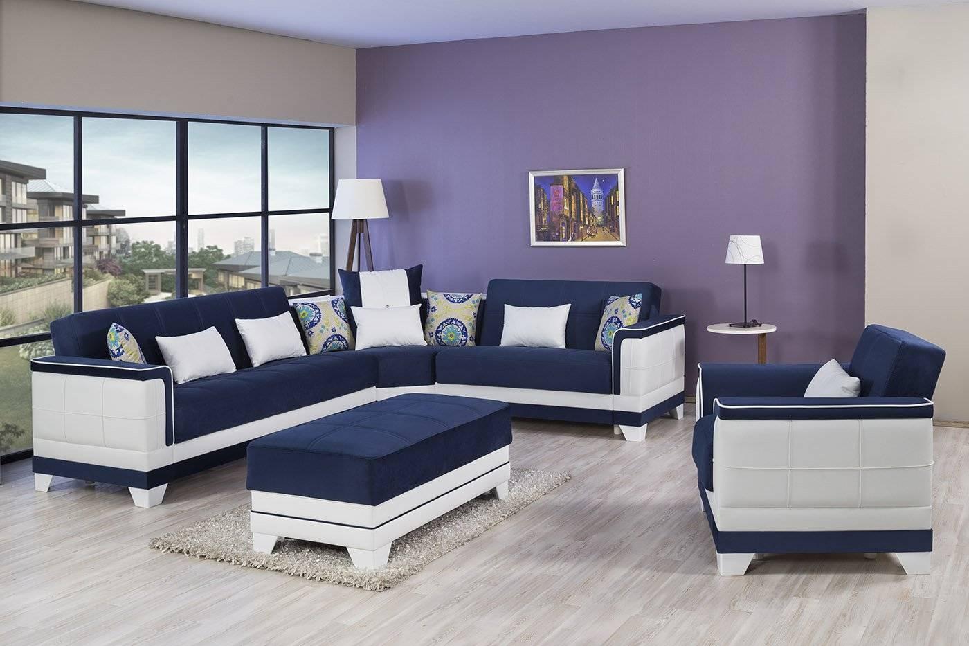 Royal Blue Sectional Sofa. Winslet Velvet Sectional Navy Blue for Midnight Blue Sofas (Image 12 of 15)