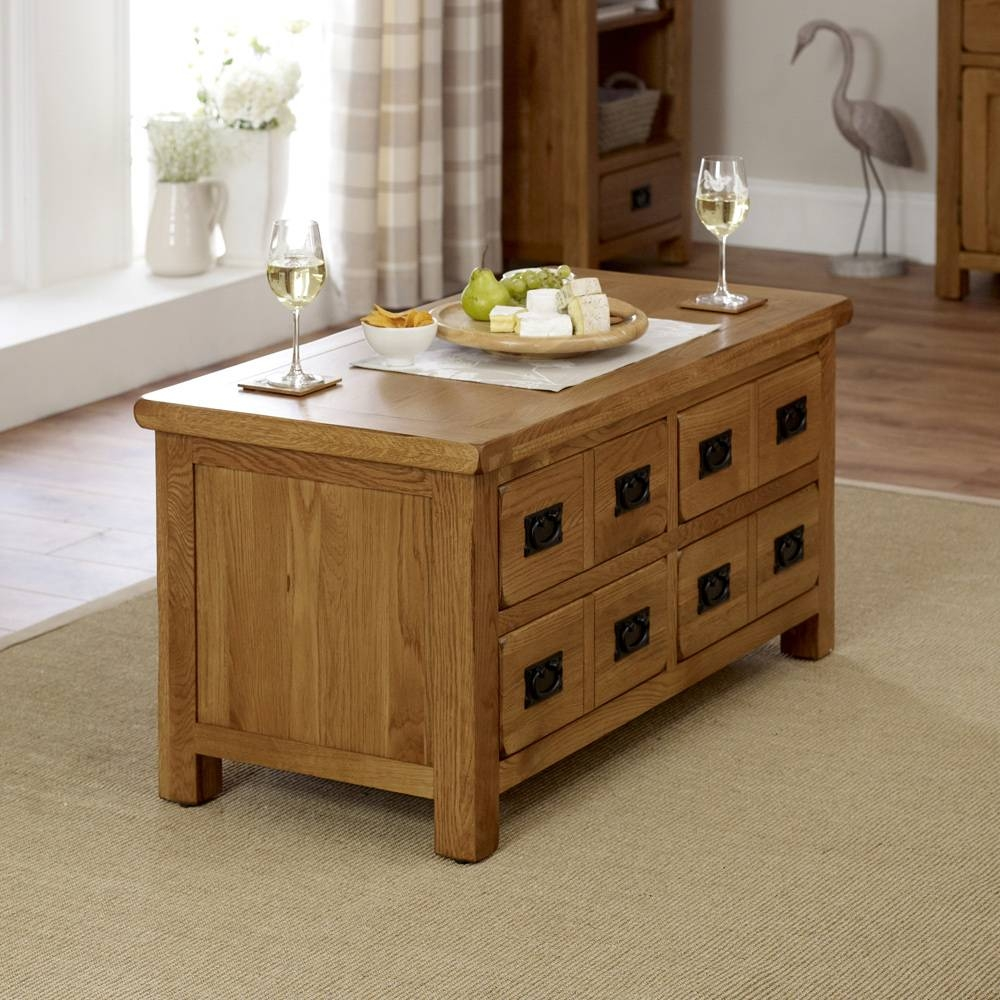 Rustic Oak 4 Drawer Storage Coffee Table pertaining to Oak Coffee Table With Storage (Image 14 of 15)