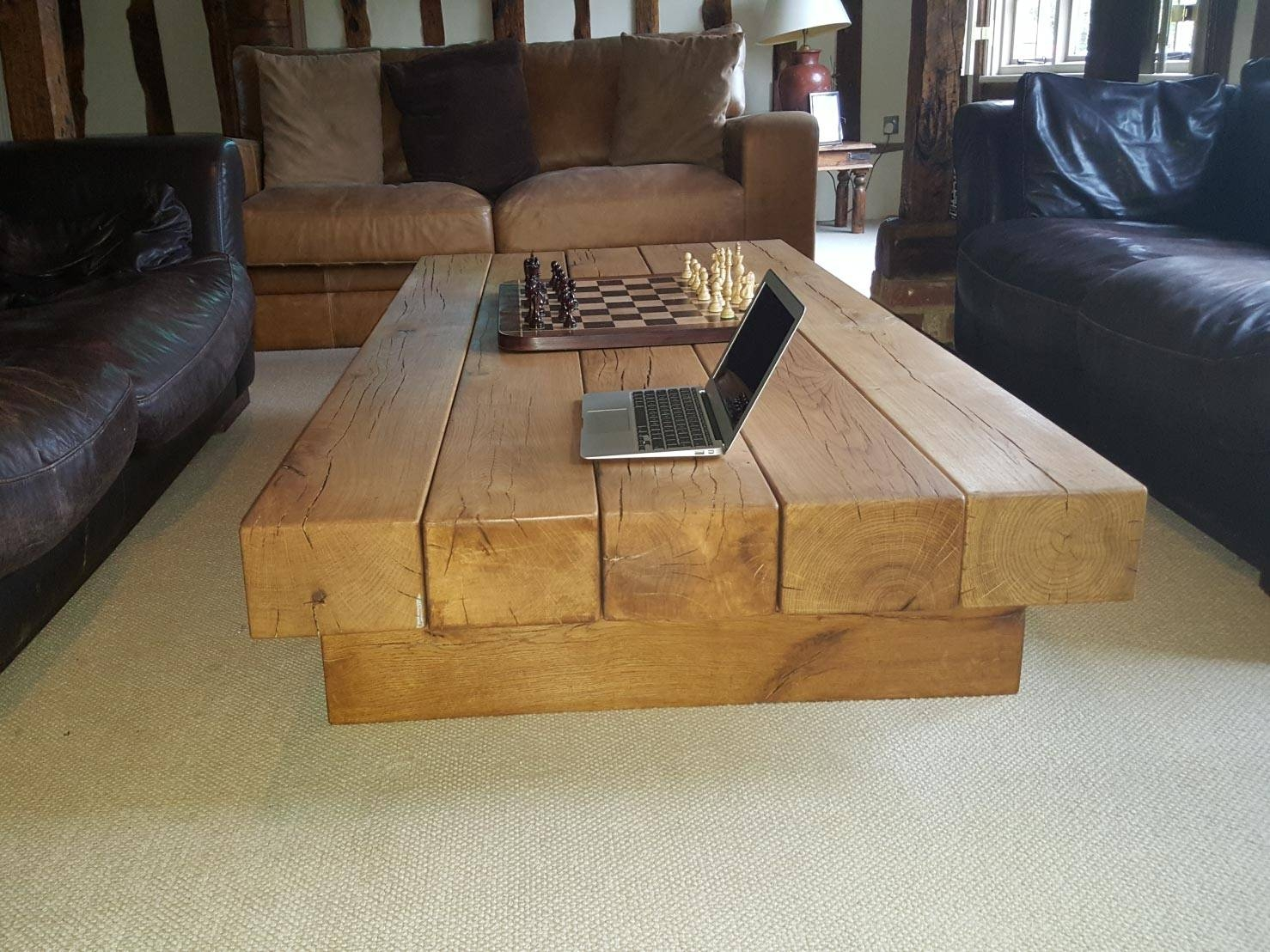Rustic Oak Coffee Table | Abacus Tables with regard to Oak Beam Coffee Tables (Image 13 of 15)
