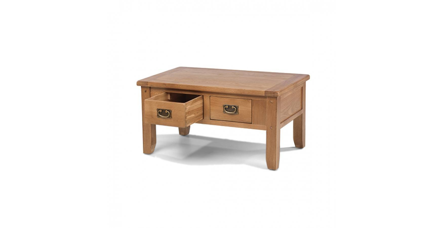 Rustic Oak Small 2 Drawer Coffee Table – Lifestyle Furniture Uk Pertaining To Small Oak Coffee Tables (View 8 of 15)