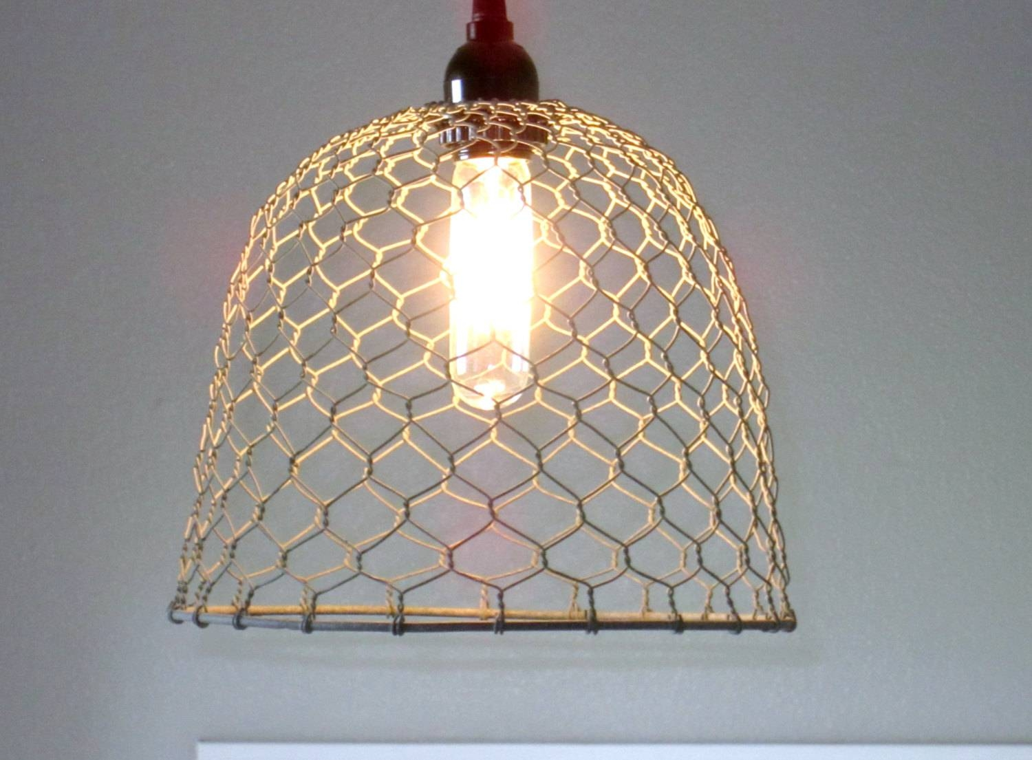 Rustic Pendant Lighting Chicken Wire Farmhouse Pendant With Regard To Chicken Wire Pendant Lights (View 13 of 15)