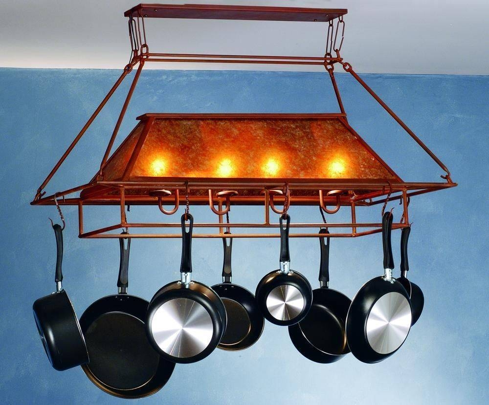 Rustic Pot Rack With Lights : Beauty Pot Rack With Lights – Home regarding Pot Rack With Lights Fixtures (Image 14 of 15)