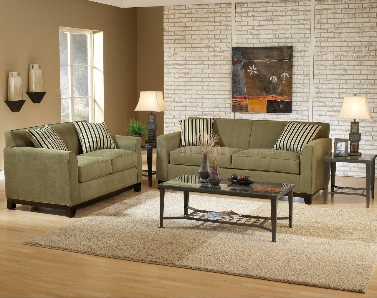 Sage Fabric Casual Modern Living Room Sofa & Loveseat Set Inside Casual Sofas And Chairs (View 14 of 15)