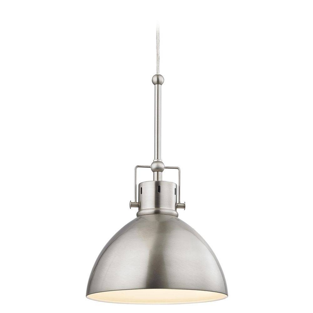 Satin Nickel Dome Metal Pendant Light | 2038-1-09 | Destination within Brushed Stainless Steel Pendant Lights (Image 11 of 15)