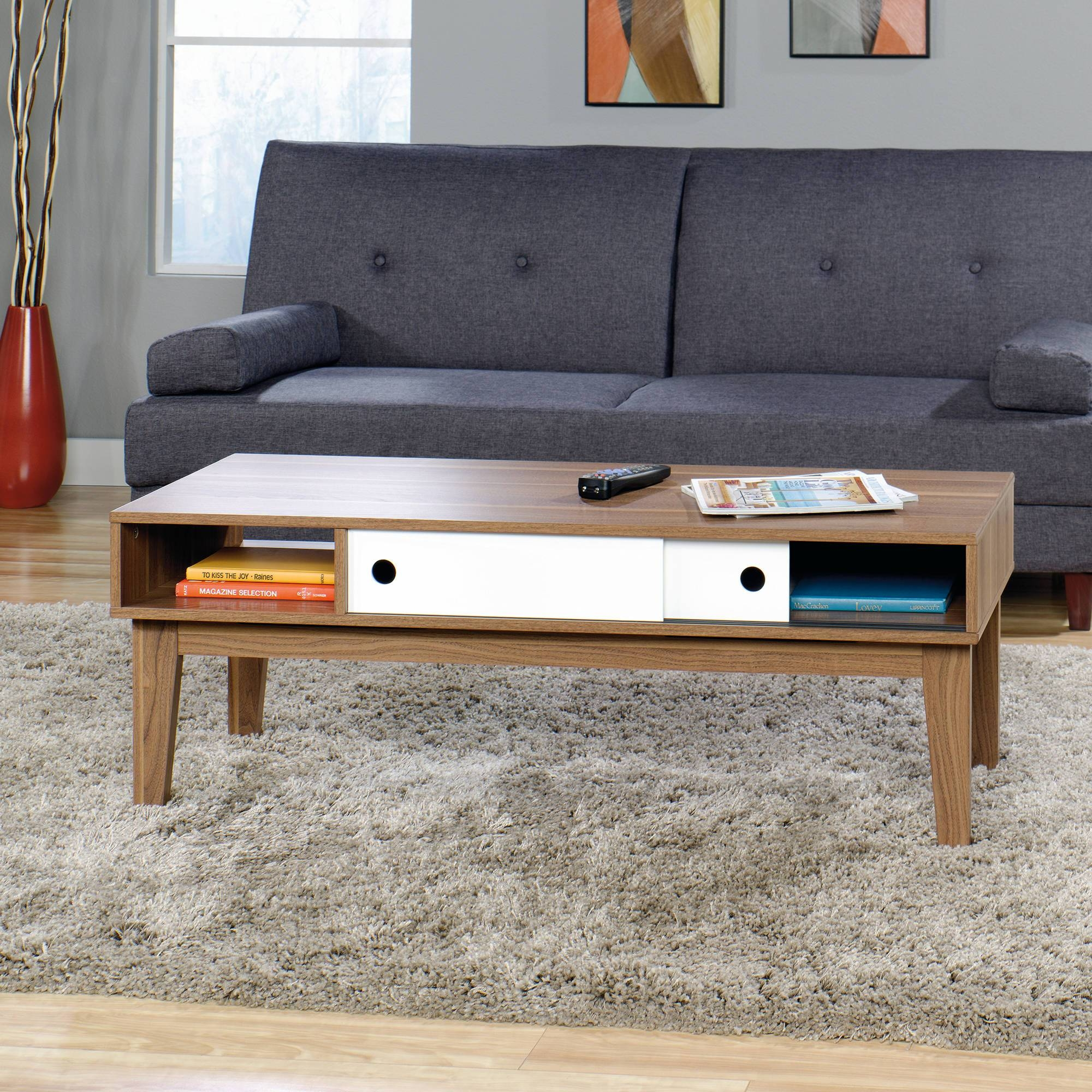 Sauder Soft Modern Coffee Table, Walnut Finish With White Accent Regarding Modern Coffee Table (View 11 of 15)