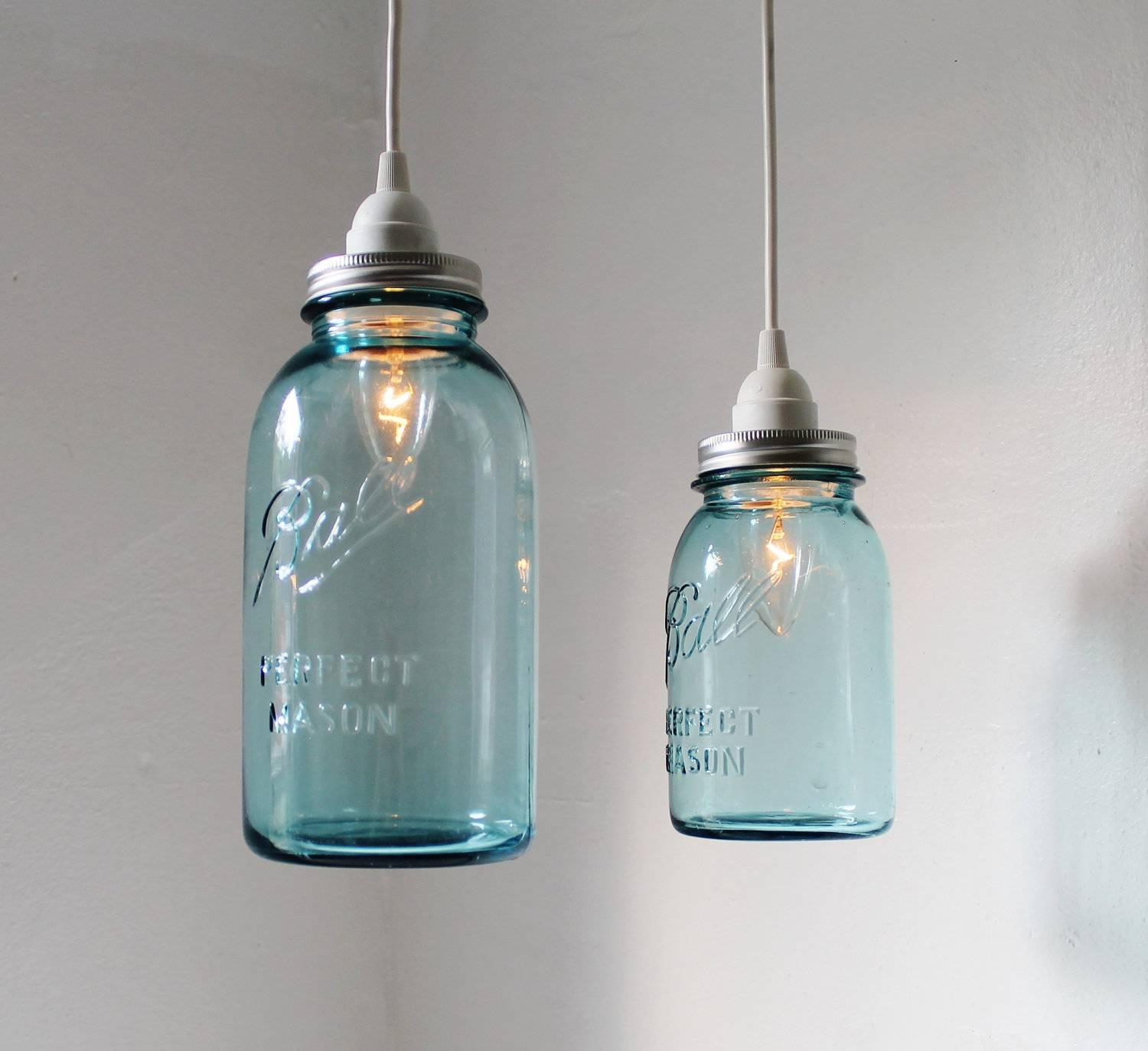 Sea Glass Mason Jar Pendant Lights Set Of 2 Hanging Antique for Blue Mason Jar Lights Fixtures (Image 15 of 15)