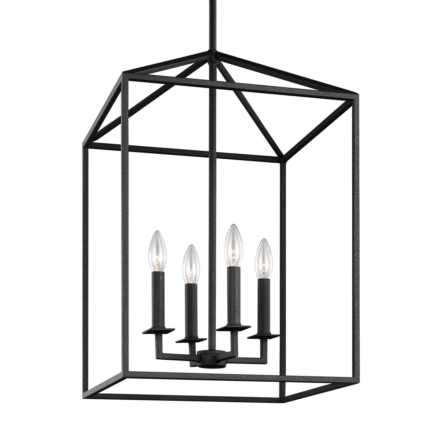 Sea Gull Lighting Perryton Blacksmith 12.5 Inch Four Light Lantern throughout Carriage Pendant Lights (Image 10 of 15)