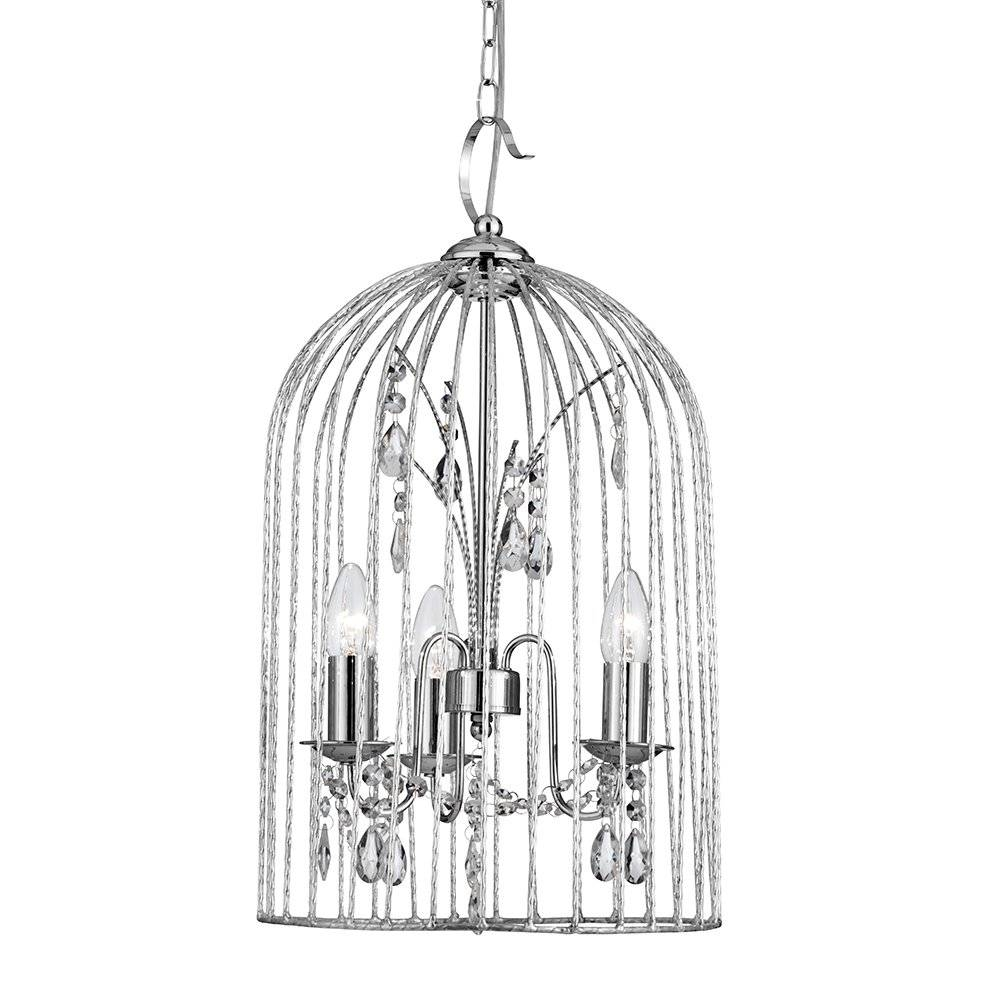 Searchlight 2343 3Cc   Bird Cage 3 Light Ceiling Pendant Polished With Birdcage Pendant Lights (View 8 of 15)