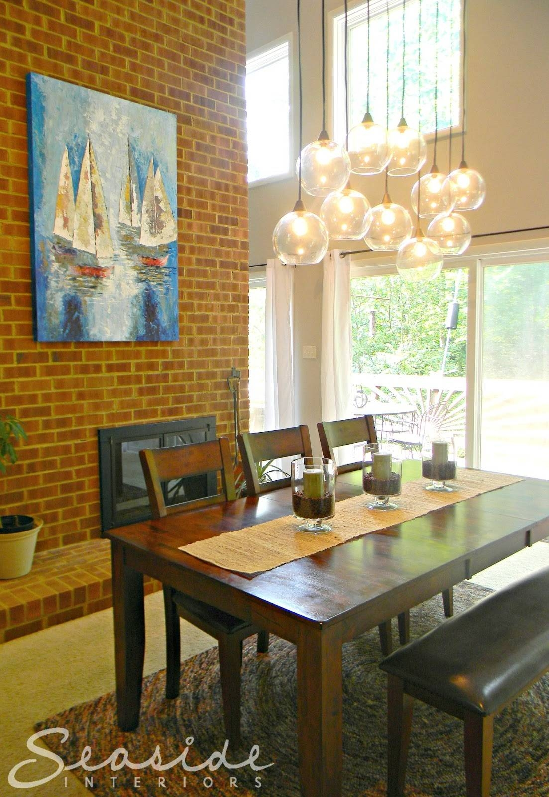 Seaside Interiors: Dining Room Design Makeover Using The Cb2 intended for Cb2 Lighting Pendants (Image 13 of 15)