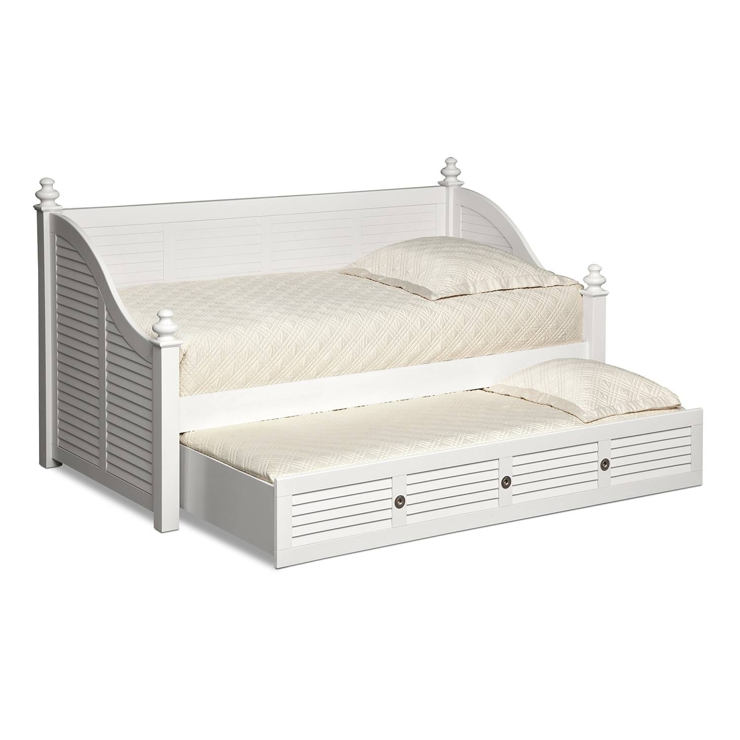 Seaside Twin Daybed With Trundle – White | Value City Furniture Throughout Sofas Daybed With Trundle (View 8 of 15)