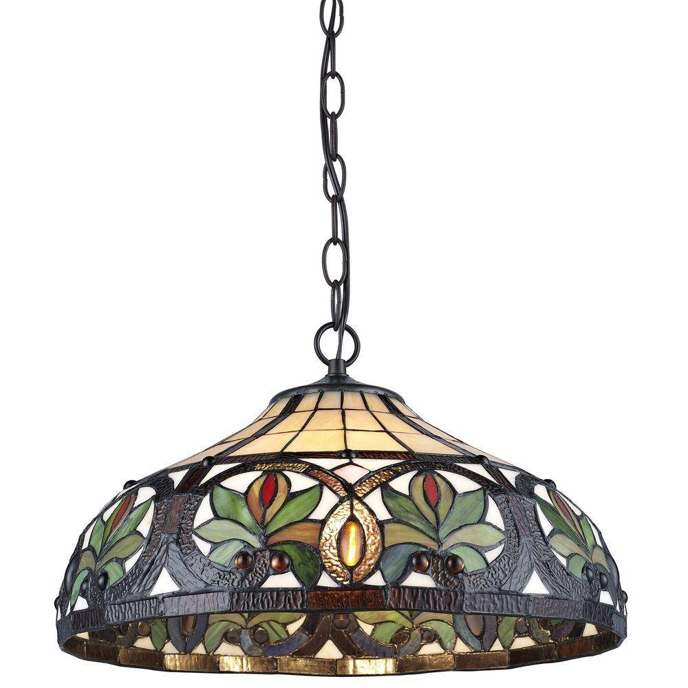 Serena D'italia Tiffany 2-Light Sunrise Bronze Pendant Hanging pertaining to Stained Glass Pendant Lights (Image 6 of 15)