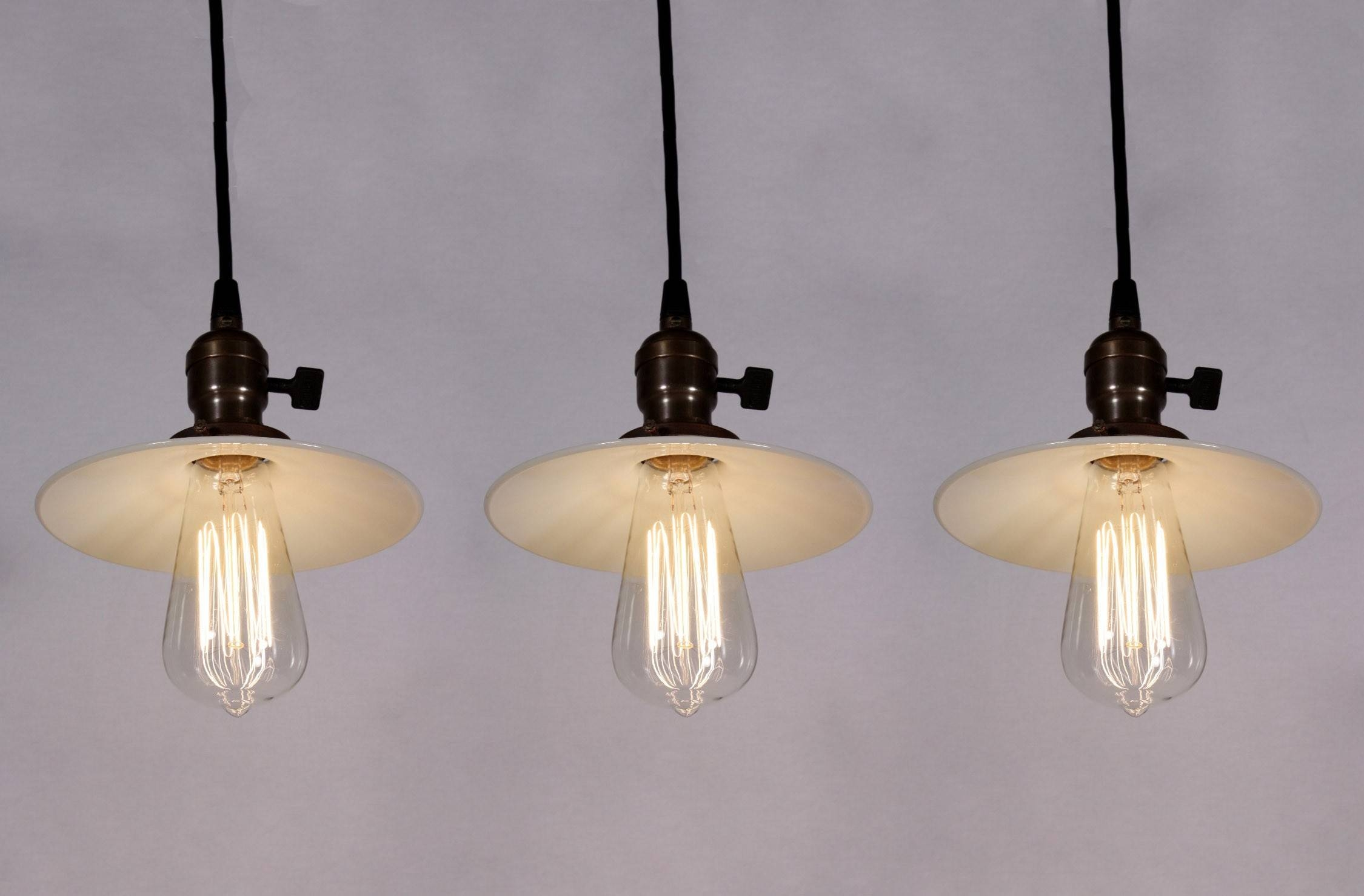 Set Of Three Matching Antique Industrial Pendant Lights With Milk In Milk Glass Pendant Lights (View 8 of 15)