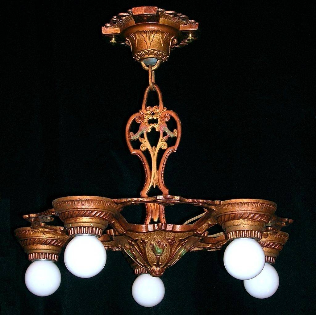 Set Three Markel Vintage 5-Light Bare Bulb Iron Chandeliers From intended for Bare Bulb Fixtures (Image 12 of 15)