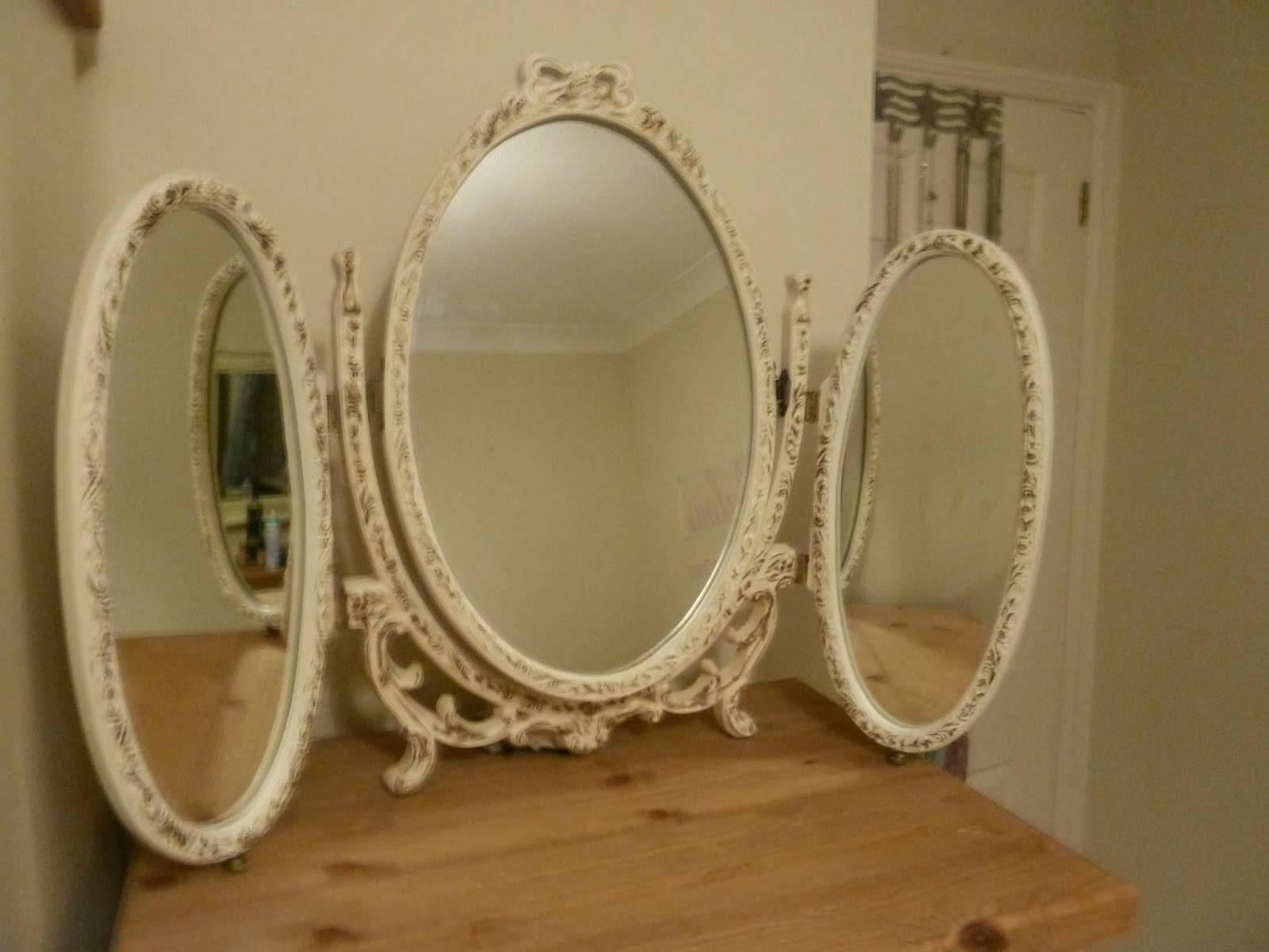 Shabby Chic Country Sisters: Sold - Vintage Shabby Chic 3 Folding in Ornate Dressing Table Mirrors (Image 11 of 15)