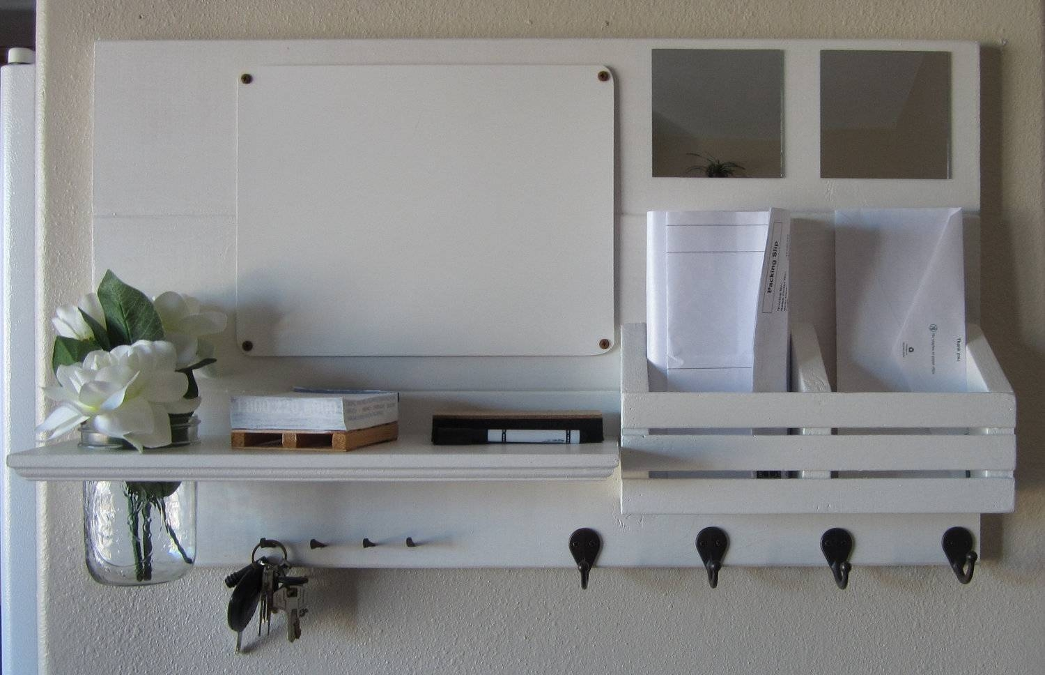 Shabby Chic Whitewashed Reclaimed Wood Shelf With Hooks For Hat with Shabby Chic Mirrors With Shelf (Image 13 of 15)