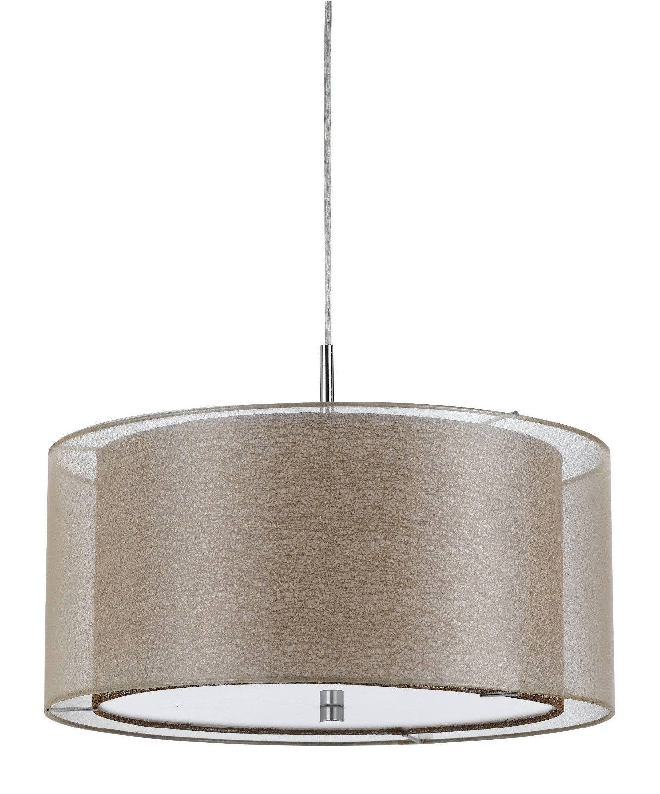 Sheer Burlap Drum Pendant Light Plug In | Lamp Shade Pro with regard to Drum Pendant Lights (Image 14 of 15)
