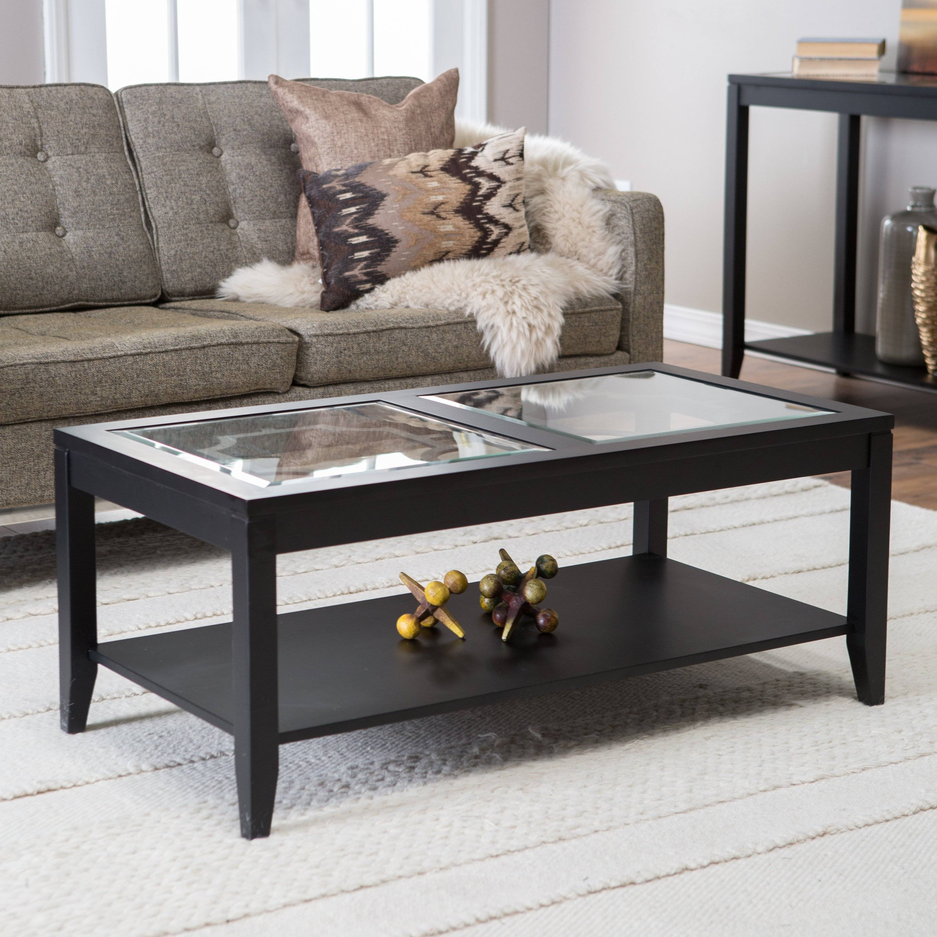 Shelby Glass Top Coffee Table With Quatrefoil Underlay | Hayneedle intended for Glass Topped Coffee Tables (Image 15 of 15)