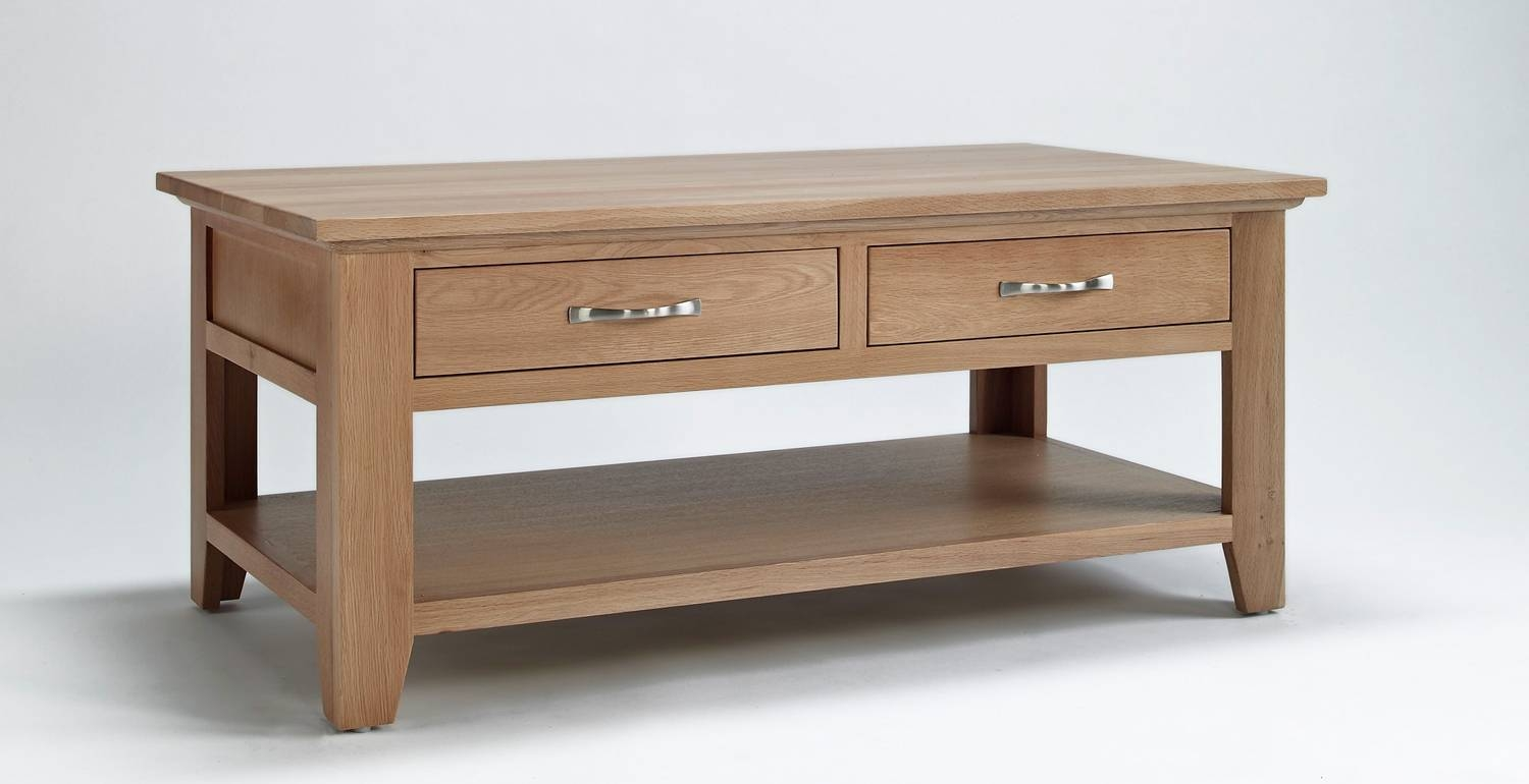 Sherwood Oak Coffee Table With 4 Drawers. 50% Off! regarding Oak Coffee Table With Shelf (Image 14 of 15)
