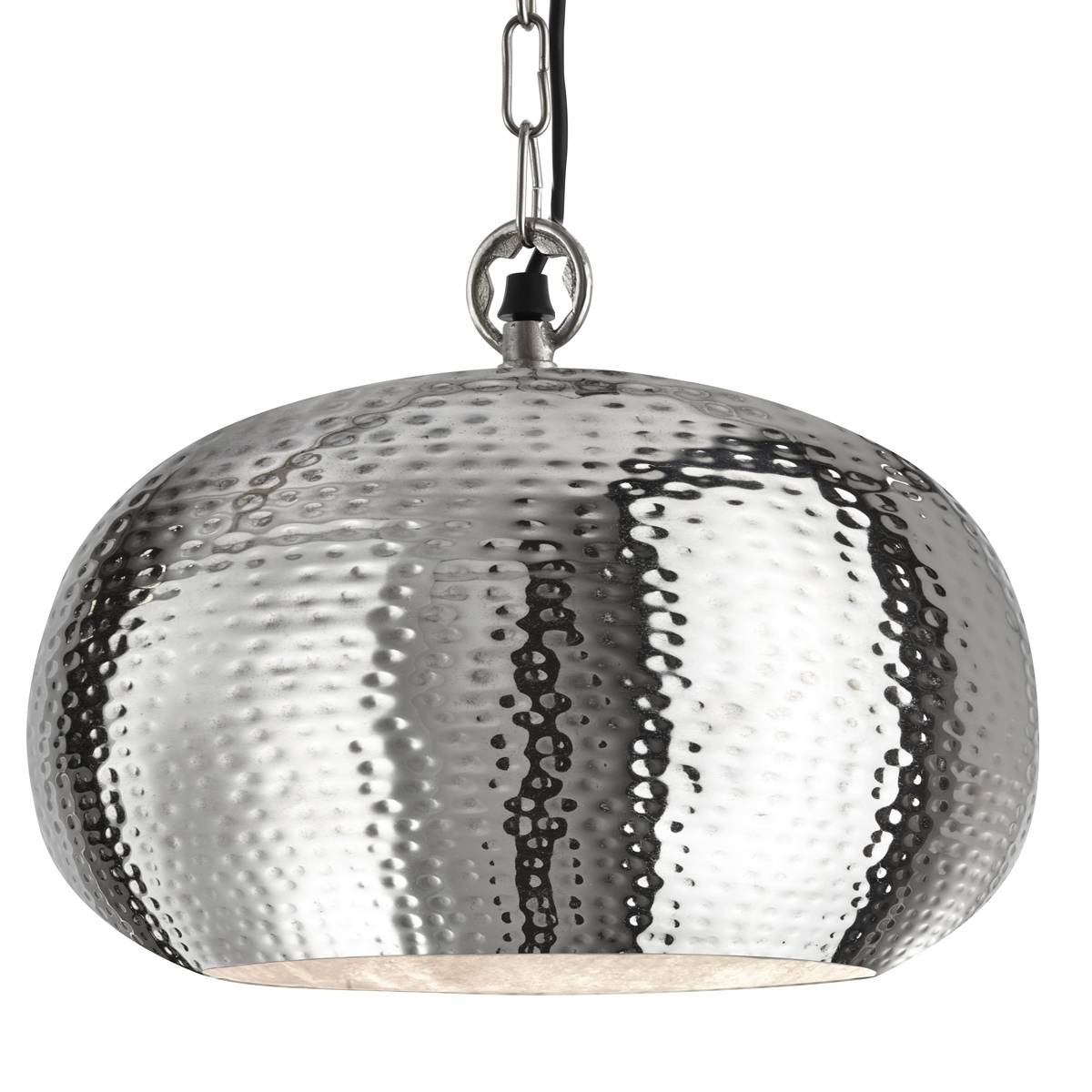 Shiny Nickel Large Dome Shaped Hammered Pendant - Searchlight 2094 within Hammered Pendant Lights (Image 11 of 15)